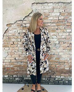 Cdlc  Dress blazer pockets floral twill beige