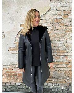 Rino Pelle hooded coat Alida reversible