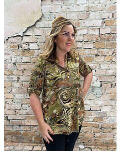 Magna blouse knoopje mouw B-9001 goldy