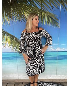 Iz Naiz  3644 Dress off shoulder zebra