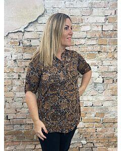 Magna blouse knoopje mouw B-9001 barok print