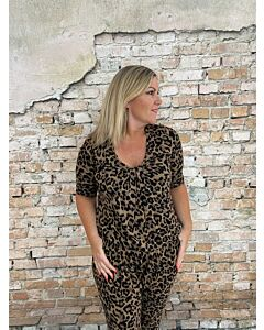Cdlc  Top pleads 3/4 sleeve panther brown