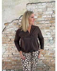 Cdlc  Long blouse with string vegan leather dark