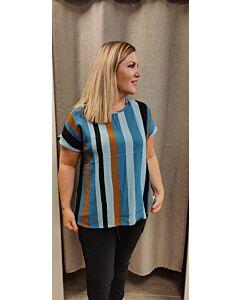 Zhenzi shirt strepen blauw/cognac Blouse s/s 0844